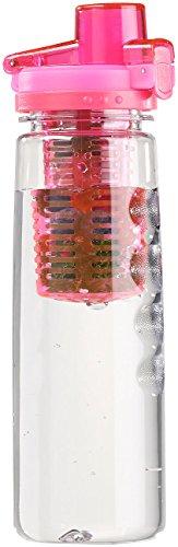 Rosenstein & Söhne Obstflaschen: Tritan-Trinkflasche mit Fruchtbehälter, BPA-frei, 800 ml, pink (Wasserflasche mit Fruchtbehälter)
