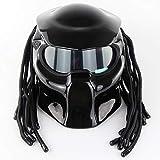 WWtoukui Knallschwarzer Predator Motorradhelm, 4-Jahreszeiten-Universalmaske Mit LED-Beleuchtung...