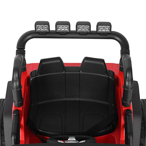 COSVALVE 12V Ride On Car Powered Electric Car for Kids Electric Vehicles with Remote Control, Wheels Suspension, LED Lights, Music, Bluetooth, 2 Seats (Red)