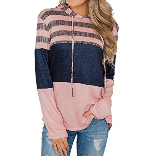 Women Hoodie Women Pullover Elegant Comfortable Splicing Tether Casual Hooded Sweater Slim Long Sleeves All-Match Trendy Women Streetwear Autumn New B-Pink XL