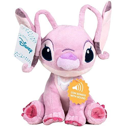 """Lilo&Stitch - Peluche 11'41""""/29cm Angel (Rose) Qualité Super Soft Les Deux avec Son"""