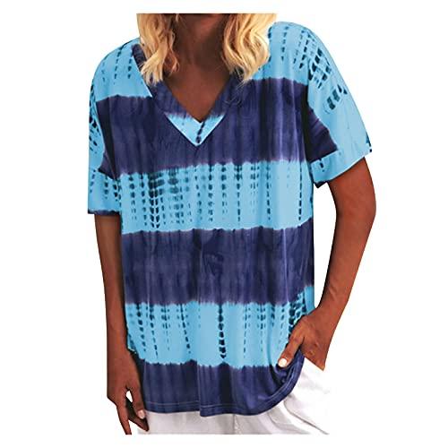 YANFANG Camisetas Mujer Manga Corta,Camiseta De Corta con Estampado TeñIdo Anudado Sin Posicionamiento Cuello En V Moda para Mujer,Camiseta Suelta Informal,Azul,XXL