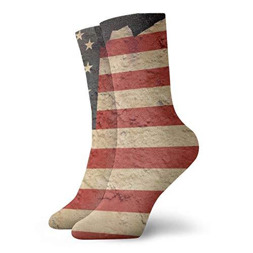 Kaswtrb American Flag Ao Mid-Calf Compression Athletic Tobilleras Calcetines Niño Niña