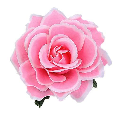 FEILEC Horquilla para el pelo con simulación de flores en forma de flor de rosa, para fiestas en la playa, bodas, banquetes, día de San Valentín, regalo, 11 cm (multicolor)