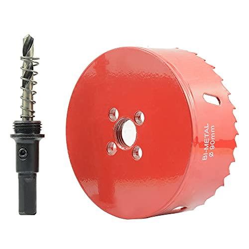 ASNOMY Sierra de agujero bimetálica de 90mm Sierra de agujero Bi-metal cortador de agujero con agujero Sierra de árbol para hierro aluminio, madera, paneles de yeso, tubos, plástico