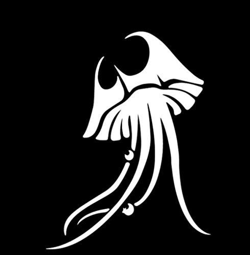 LXLZN Auto Aufkleber Vinyl Aufkleber Tier Halloween Sport Selbstklebend Weihnachten Zubehör 2 Stücke Wandtattoo Aufkleber Medusa Autoaufkleber Vinyl 12,4 Cm * 16,4 Cm
