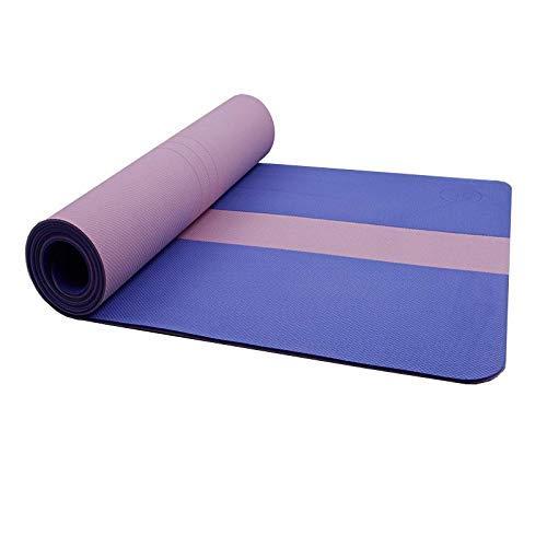 8bayfa Yoga-Matten-Nicht Beleg-Yoga-Matte mit Ausrichtungslinien Assisted Anfänger Yoga-Praxis-Matte Anti-Rutsch-Pad ideal for zu Hause Fitness-Studio.1206 (Color : Blue, Size : 8mm)