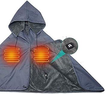 ARRIS Heated Blanket 5V Electric Outdoor Waterproof Fleece Blanket with Hood Waterproof Windproof Stadium Mat for Camping Picnic Sports Football Concerts 55 x 27.6 inc
