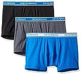 Emporio Armani Moda Multipack Elástico Algodón 3-Pack Bóxer Breve, Gris/Negro/Azul Onda M Gris/Negro/Azul Onda