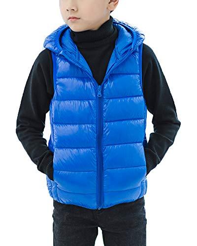 Shengwan Ragazzi Ragazze Piumino Gilet Bambini Caldo Cappotto Senza Maniche Giacche con Cappuccio Blu 150cm