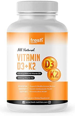 Vitamin D3 5000iu 125mcg Vitamin K2 100mcg as MK 7 for Optimal Absorption Vegan Friendly for product image
