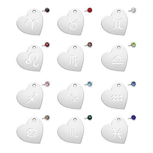 316 Stainless Steel 12 Constellations with Birthday Stone Zodiac Sign Pendants Charms Astrology Horoscope Charms Beads for DIY Jewelry Craft Making