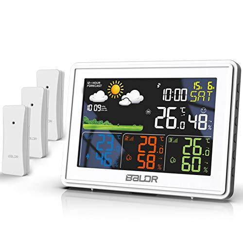 BALDR Wetterstation Funk mit 3 Außensensor Indoor Outdoor Thermometer Hygrometer mit Wettervorhersage, DCF Farbwetterstation, Wecker, Uhrzeitanzeige, deutlich Anzeigebildschirm (Weiß)
