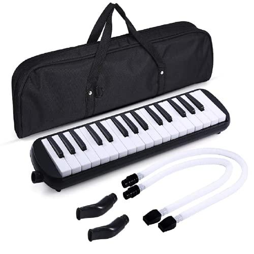 Melodica 32 Tasti Tastiera Stile Pianoforte Imposta Strumento Fisarmonica Organo con 4 Bocchini (2 Estendi + 2 corti) e Panno di Pulizia,Regalo di Epifania