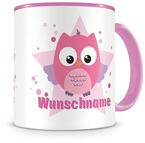 Samunshi® Kinder-Tasse mit Namen und einer rosa Eule als Motiv Bild Kaffeetasse Teetasse Becher Kakaotasse Nr.1: rosa H:95mm / D:82mm
