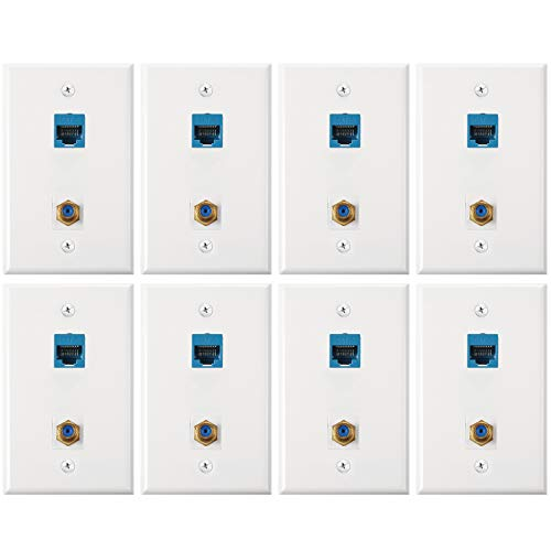 8 Pack Cat6 Coax Wall Plates, Cat6 Ethernet Port and Cable TV Coax Gold-Plated F-Type Port Wall Plate (Blue)