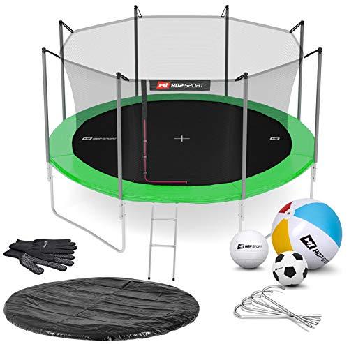 Hop-Sport Gartentrampolin Outdoor Trampolin 244, 305, 366, 430, 490 cm Komplettset inkl. Innennetz Leiter Wetterplane Bodenhaken 430cm