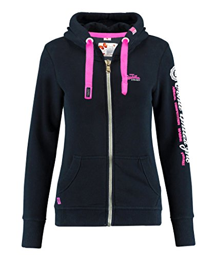 M.Conte Rachel Damen Hooded Sweater Sweat-Shirt-Jacke S M L XL Weiss Blau Grau Schwarz Pink Mit Kapuze Schwarz Black S
