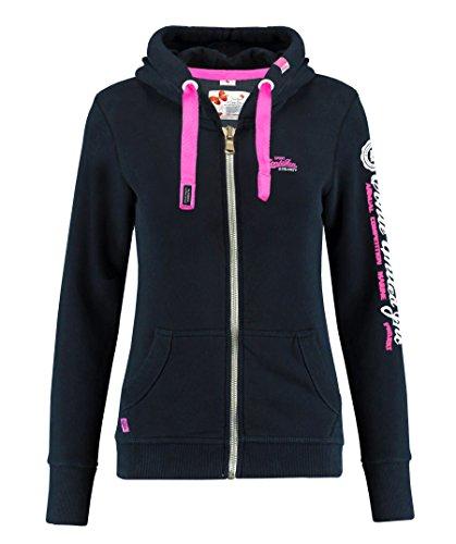 M.Conte Rachel Damen Hooded Sweater Sweat-Shirt-Jacke S M L XL Weiss Blau Grau Schwarz Pink Mit Kapuze Schwarz Black XL