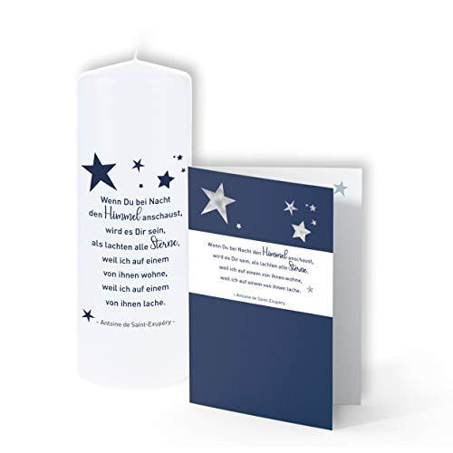 TrostGeschenke - Trauerkerze & passende Trauerkarte - 'Wenn Du bei Nacht den Himmel'