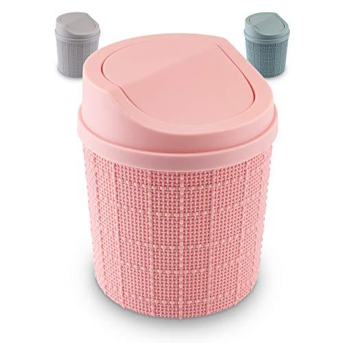 goodspot® Tischmülleimer (rosa) mit Schwingdeckel 1,5l Tischabfalleimer Schreibtisch kompaktes Design Kosmetikeimer Mini Mülleimer Bad für den Waschtisch