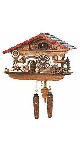 Trenkle Quarz Kuckucksuhr Schwarzwaldhaus mit beweglicher Kellnerin und drehendem Mühlrad, mit Musik TU 4210 QMT HZZG