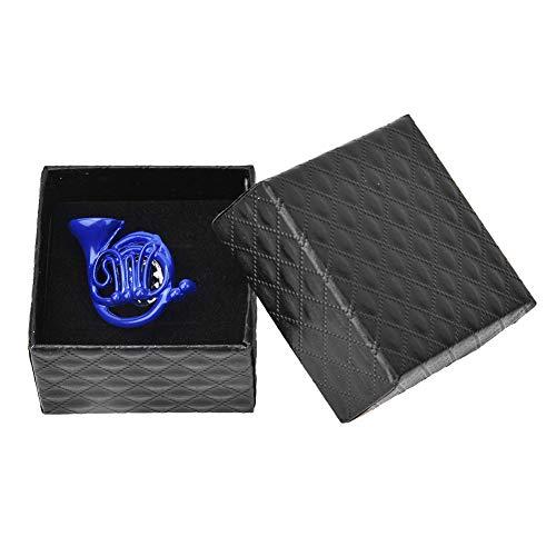 Broche Pin Broche de Forma de Cuerno de Metal Azul con Caja de Regalo Bolsa de Ropa Accesorios de decoración Broche Azul Regalo para Madre Amiga Novia
