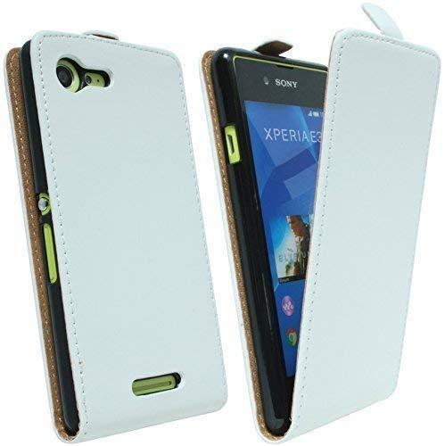 ENERGMiX Klapptasche Schutztasche kompatibel mit Sony Xperia E3 (D2203) in Weiss Tasche Hülle