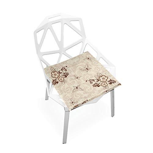 Cojín de espuma viscoelástica para sillas de cocina, suave, lavable, antipolvo, silla de comedor, cojín de 40,6 x 40,6 cm (flor) 2030110