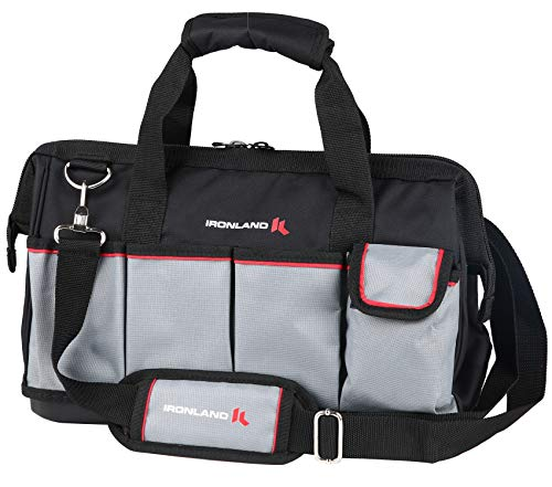 Tool Bag Wide Mouth with Multi-Compartment Pockets, Organizer Bag with Adjustable Shoulder Strap (16 inch)