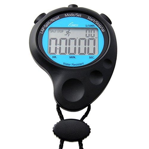 LINKSY(リンクシー) 防滴 多機能ストップウォッチ 1/100秒計測 10時間計 20メモリー 時計機能付 LS002BB ブルー×ブラック LS002BB ブラック