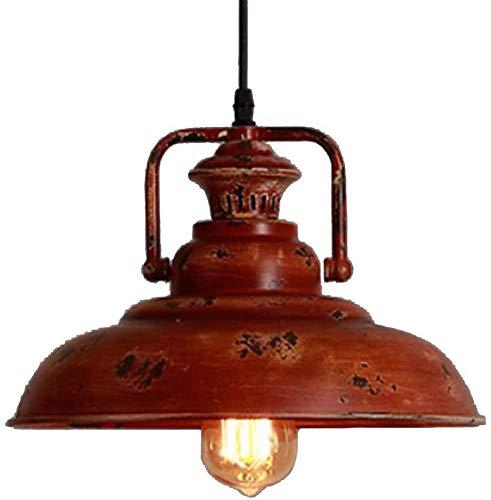 NIUYAO Vintage Pendant Light Retro Red Rust Finish Industrial Barn Suspension Single Light Metal Chandeliers Indoor Decoration