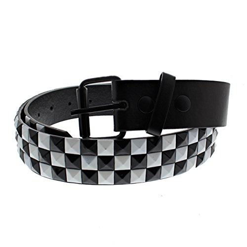 Zac's Alter Ego Bicolour Chessboard 3 Row Pyramid Studded Belt