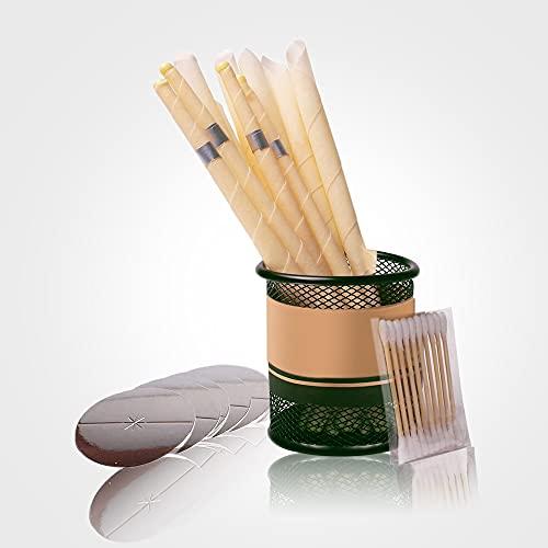 Candele per orecchie, candele auricolari in cera d'api, 100% naturale e biologico, coni di candela per la pulizia degli orecchini, bloccate kit di candele da 10 pezzi con 5 dischi di protezione.
