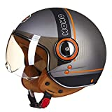 O-Mirechros Motorrad-Sturzhelm Chopper 3/4 Open Face Vintage-Helm Moto Casque Männer Frauen Scooter Motorradhelm 110B Titanium-Black XL