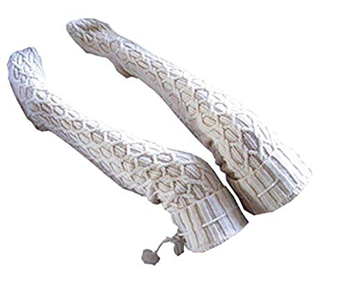 Women Cable Knit Extra Long Boot Socks Over Knee Thigh Stocking (One size, White)