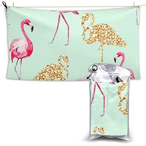 Toallas de Playa Toallas de baño compactas portátiles de Microfibra, sin Arena, Cute Flamingo, de Secado rápido, súper Liviana, para Acampar, Toalla, Manta con una Bolsa de Transporte