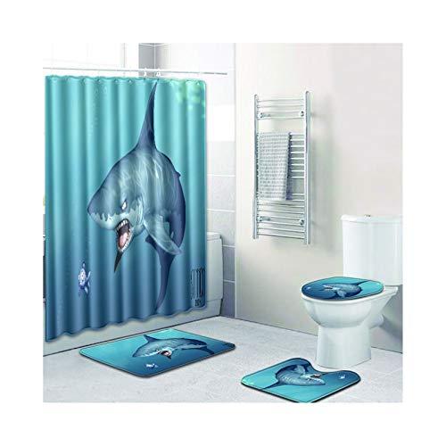 MaxAst Juego de 4 Accesorios de Baño Alfombra y Cortina de Ducha Tiburón Azul Cortina de Ducha 180x180 CM Alfombras de Baño 3 Piezas 45x75