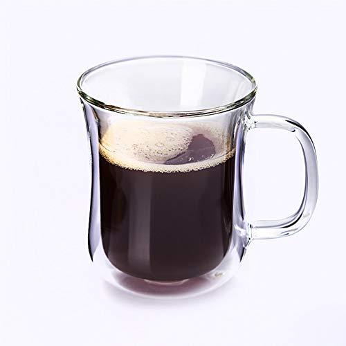 Erjialiu Koffie Mok Dikker Dubbele Beker Koffie Beker Cappuccino Beker Warmte Isolatie Transparant Huishoudelijke Beker