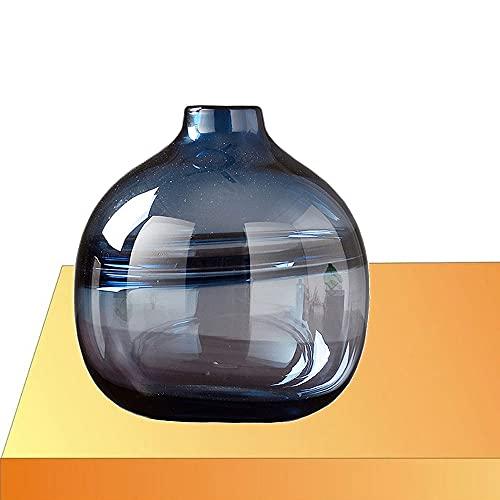 LXLAMP Floreros Decorativos Modernos, Jarron Cristal Jarron Grande de Suelo Jarrones de Flores, Elegante Decoración para la Decoración del Escritorio - Altura 20 cm (Color : Smoky Blue)