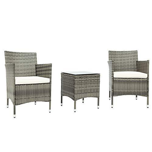 BTM Rattan-Gartenmöbel-Set, 2 Stühle und 1 Kleiner Glastisch, 2-Sitzer, Bistro-Set für Terrasse oder Balkon (Grau)