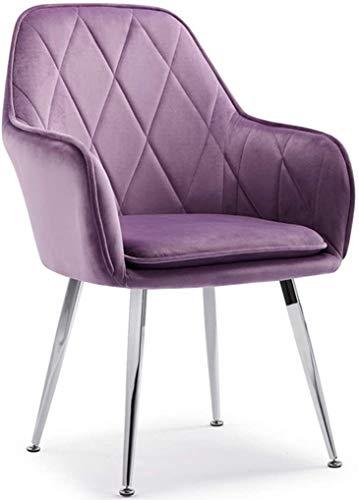 SZHWLKJ Silla de Comedor Modernas sillas de Oro de Terciopelo,sillas tapizadas con Acento copetudo Piernas Placas de Metal de Oro for la Sala de Estar/Cocina/Vanidad/Patio (Color : Purple)