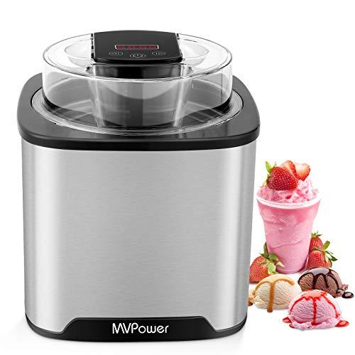 MVPower Eismaschine 2L, Speiseeisbereiter mit Timer (5 bis 45 Min.) & Deckelöffnung, LCD-Anzeige, Speiseeismaschine aus Edelstahl, für Eis, Frozen Yoghurt und Sorbet, Abnehmbar, inkl. Rezepte