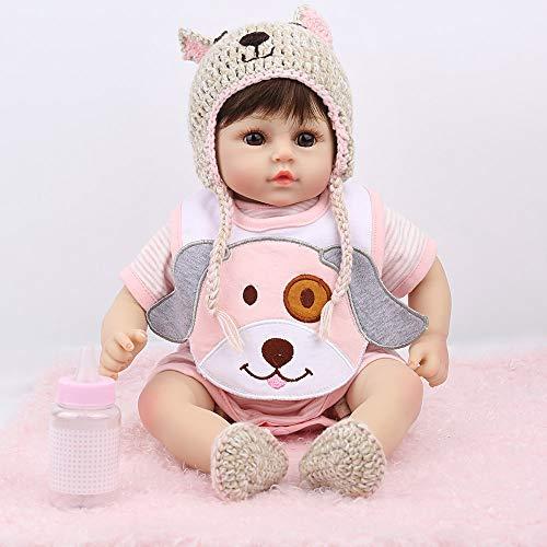 Handmade Reborn Baby Dolls 18 Inch Soft Realistic Vinyl Newborn Reborn Babies with Dog Bib Real Baby Dolls for Age 3+