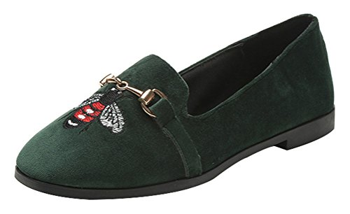 T&Mates Womens Cute Faux Suede Slip-on Close Toe Low Cut Embroidered Flat Loafer Shoes (6 B(M) US,Green)