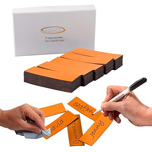 ECENCE 75 Etichette magnetiche scrivibili - 60x20mm Arancione - Strisce adesive tagliabili - cartellini magnetici cancellabili - Etichette magnetiche per lavagne Bianche, frigoriferi, lavagne
