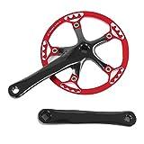 Kee so Juego de Platos y bielas de Bicicleta Anillo de Cadena de Cadena de Cadena de Bicicleta 170 mm 45T 47T(47T-Rojo)