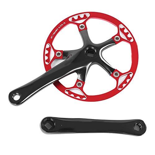 Dioche Speed Kurbelgarnitur, Fahrrad Kurbelgarnitur 170mm Fahrrad Kettenblatt Kettenblatt 45T 47T(Schwarz + Rot 45T)