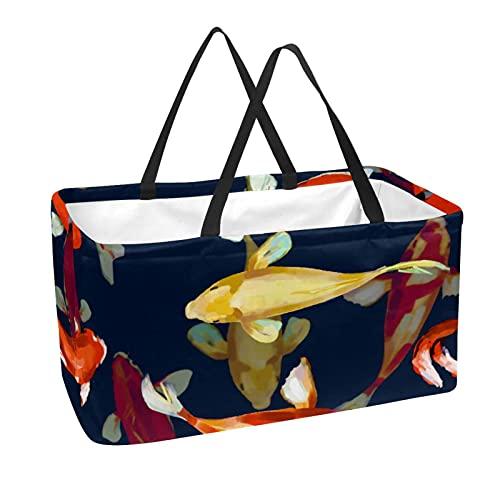 La bolsa de asas reutilizable del ultramarinos, cesta de compras grande, pintura de los pescados del bolso del almacenamiento 50L