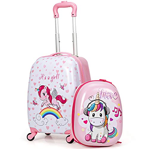 COSTWAY 2 stuks kinder bagage set met spinnewielen, 40cm rugzak & 32cm kinder koffer, harde buitenkant rollende bagage…